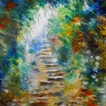 Embarazada y con cáncer Peinture Les marches de l'espoir- Tableau d'Axelle BOSLER Artiste peintre